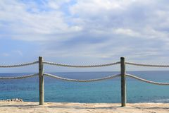Banister railing on marine rope and wood Royalty Free Stock Photography