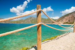 Banister railing on marine rope and wood Moraira Mediterranean sea.  Royalty Free Stock Images