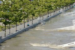 Banister on riverbank - extraordinary flood, on Danube in Bratislava Stock Photos