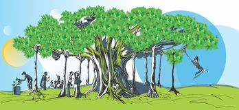 Baniyan Tree illustration. Banyan Tree illustration depicts the role of a company like corporate responsibility partnership, support and benefits of shareholders royalty free illustration