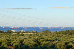 Baniyas. Ships sailing in the Mediterranean. Stock Photography