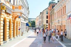 Banja Luka center street. BANJA LUKA, BOSNIA AND HERZEGOVINA - JULY 28, 2014: People walking at Old Town street of Banja Luka. Banja Luka is the second largest Stock Photo