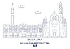 Banja Luka Linear City Skyline, Bosnia and Herzegovina Stock Image