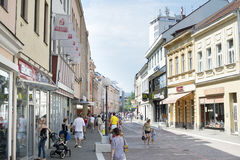 Banja Luka Old Town. BANJA LUKA, BOSNIA AND HERZEGOVINA - JULY 28, 2014: People walking at Old Town street of Banja Luka. Banja Luka is the second largest city Stock Photos