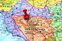 Banja Luka pinned on a map of europe Stock Photos