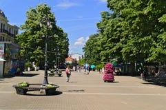 Banja Vrnjacka, Serbia-5 30 2017: Прогулка в центре города, главная улица стоковые изображения