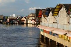 Banjarmasin stad på en Borneo ö, Indonesien Fotografering för Bildbyråer
