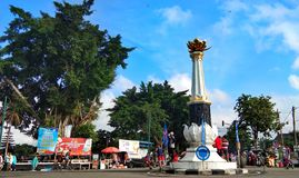 Banjarnegara Monument in The Town Square. BANJARNEGARA, INDONESIA, OCTOBER 28, 2018 : A view of the city corner of the monument that shows its beauty and human stock photography