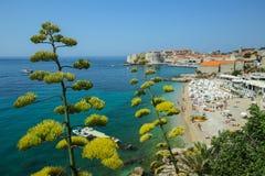 Banje morza plaża w Dubrovnik Obraz Stock