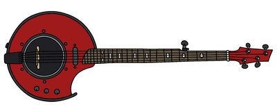 Banjo électrique rouge Photos libres de droits