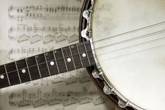 Banjo. Grunge banjo with score background Royalty Free Stock Photo