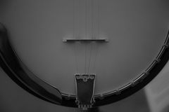 Banjo background black and white closeup Royalty Free Stock Photography