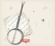 Banjo drawing- music instrument with score Royalty Free Stock Photo