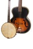 Banjo en Gitaar, Witte ISO. royalty-vrije stock afbeelding