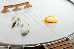 Banjo and Finger Picks Royalty Free Stock Images