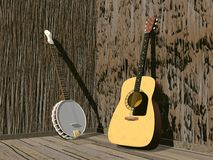 Banjo and guitar- 3D render. One banjo and guitar in a room of brown wood Royalty Free Stock Images