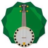 Banjo. Illustration on green star badge background Stock Images