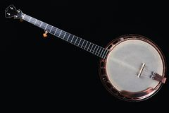 Banjo isolated on black background. Royalty Free Stock Photo