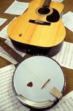 Banjo och gitarr Arkivbild