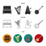 Banjo, piano, harpa, metrônomo Os instrumentos musicais ajustaram ícones da coleção em preto, liso, estoque do símbolo do vetor d Imagens de Stock Royalty Free