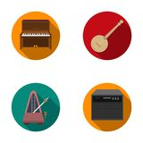 Banjo, piano,loudspeaker, metronome. Musical instruments set collection icons in flat style vector symbol stock Stock Photos
