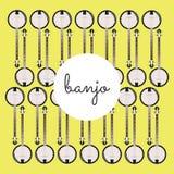 Banjo piega dello strumento della corda su un fondo colorato Immagini Stock