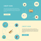 Banjo plano de los iconos, reproductor Mp3, radio y otros elementos del vector El sistema de símbolos planos audios de los iconos libre illustration