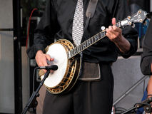 Banjo player. Closeup of banjo player Royalty Free Stock Photography