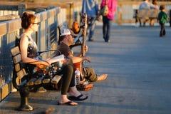 Banjo Player on Boardwalk Stock Photos