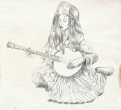 Banjo player. Freehand sketch. Full sized, orignal. Royalty Free Stock Images