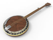 Banjo silver award. 3D render illustration of a wooden banjo award with silver elements. The object is isolated on a white background with shadows Stock Photo