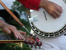 Banjo and slack string guitar players Royalty Free Stock Images
