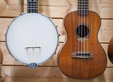 Banjo and ukulele close up Royalty Free Stock Photography