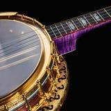 banjos 5-string sur le fond noir photos stock