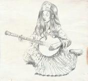 Banjospeler Schets uit de vrije hand Volledig - met maat, origineel Royalty-vrije Stock Afbeeldingen