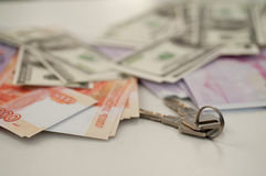Banków banknoty dolary, euro, rubel Zdjęcie Stock