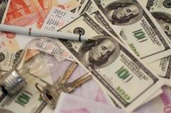Banków banknoty dolary, euro, rubel Zdjęcia Royalty Free