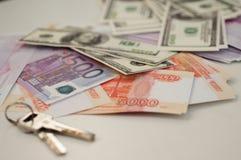 Banków banknoty dolary, euro, rubel Obrazy Royalty Free