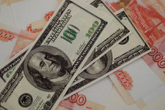 Banków banknoty dolary, euro, rubel Obraz Royalty Free