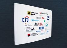 Banków logowie na Białym papierze Zdjęcie Stock