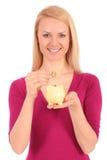 bank świnki stawiać mennicza kobieta Zdjęcia Stock