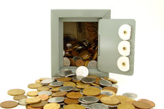 Bank. A small chest on white background with lots of coins Stock Photo