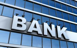 Bank. Building and sign bank (done in 3d Royalty Free Stock Image