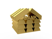 Bank. 3d render of gold bank icon isolated on white background Stock Photography