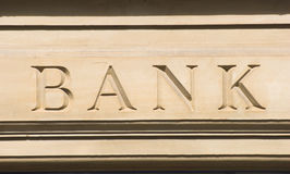 Bank. Sign etched into stone outside the building Royalty Free Stock Photos