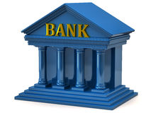 Bank. 3d illustration of blue bank Royalty Free Stock Images