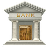 Bank. Iconic 3D caricatyure model of a bank isolated on a white background Stock Images