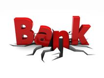 Bank. Red word bank over crack Stock Image