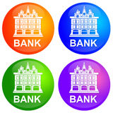 Bank. Shiny and colorful bank icons stock illustration