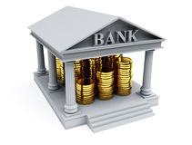 Bank 3d render. 3d image on white background Stock Photos